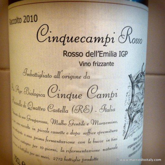 my preferred Lambrusco - Cinque Campi