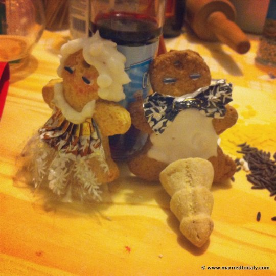 gingerbread fancy couple drunk on food coloring