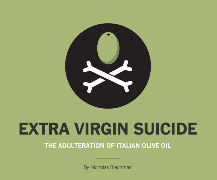 "New York Times - ""Extra Virgin Suicide"""