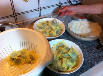 tortelli verdi being prepared